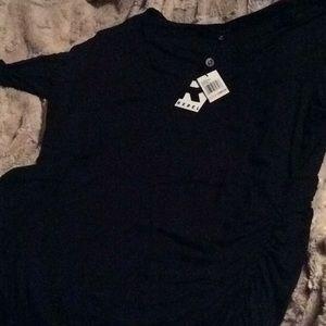 Plus size black body con dress w/rushing
